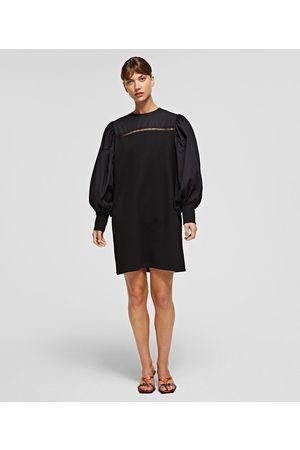 Karl Lagerfeld MIXED FABRIC SWEATSHIRT DRESS