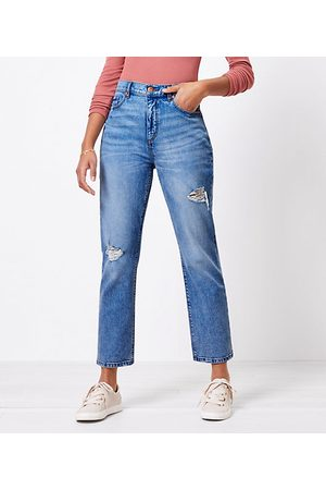 LOFT The Destructed High Waist Straight Crop Jean in Authentic Light Indigo Wash