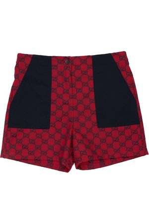Gucci All Over Logo Cotton Blend Shorts