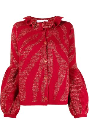 AMI AMALIA Intarsia-knit puffed sleeves cardigan