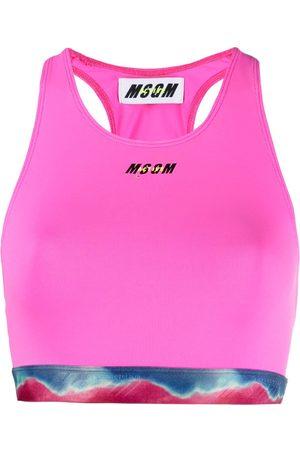Msgm Women Sports Bras - Printed waistband logo sports bra