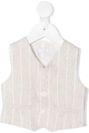 Il gufo Vertical stripe-print linen waistcoat - Neutrals