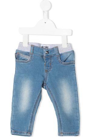 Moschino Slim - Teddy bear-patch low-rise slim-cut jeans