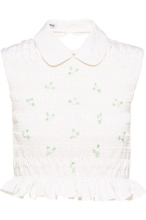 Miu Miu Embroidered sleeveless blouse