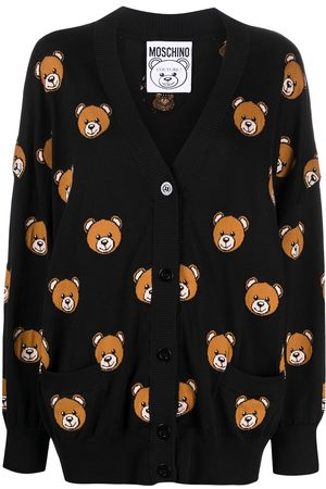 Moschino Teddy bear jacquard knit cardigan