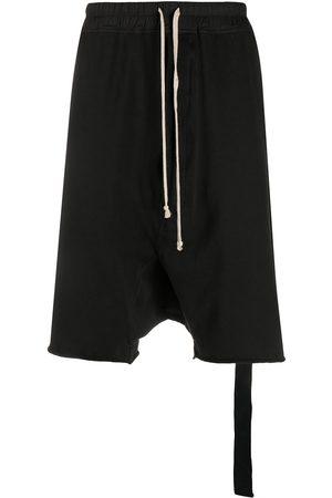 Rick Owens Men Shorts - Drawstring dropped crotch shorts