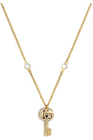Gucci Double G crystal-embellished key necklace