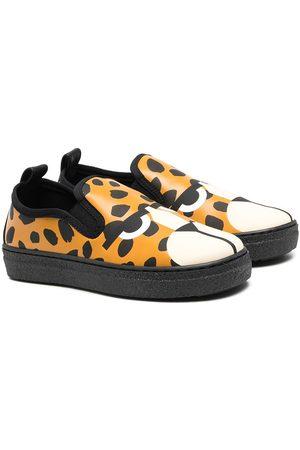 Stella McCartney Boys Flat Shoes - Leopard-print slip-on sneakers