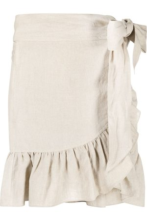 Isabel Marant Ruffle trim wrap linen skirt - Neutrals
