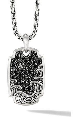 David Yurman Men Necklaces - Sterling 32.5mm Waves diamond amulet tag enhancer