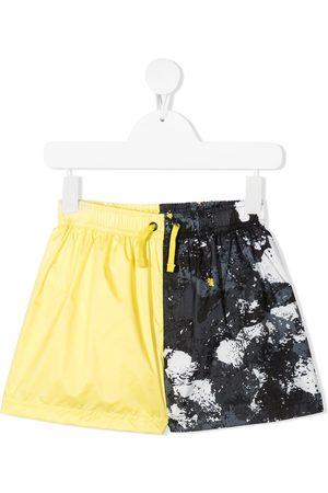 MARCELO BURLON Boys Swim Shorts - Colour-block print swim shorts