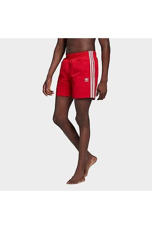 adidas Men Swim Shorts - Men's Originals 3-Stripes Swim Shorts in /Scarlet