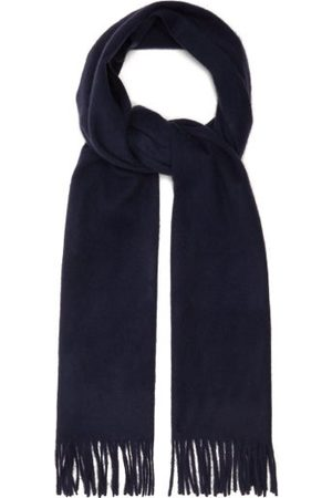 Raey Men Scarves - Fringed Wool-blend Scarf - Mens - Navy