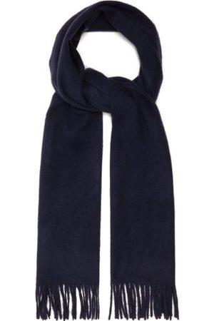 Raey Men Scarves - Fringed Wool-blend Scarf - Mens - Navy