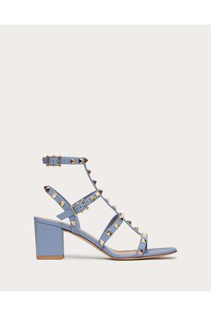 VALENTINO GARAVANI Women Sandals - Rockstud Calfskin Ankle Strap Sandal 60 Mm Women Azure 100% Pelle Di Vitello - Bos Taurus 34