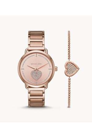 Michael Kors Women's Portia -Tone Stainless Steel Watch And Bracelet Gift Set
