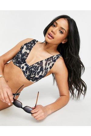 ASOS Mesh overlay underwire bikini top in smudge animal print-Multi