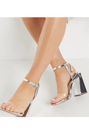 ASOS Wide Fit Watson high heeled sandals in silver-Clear