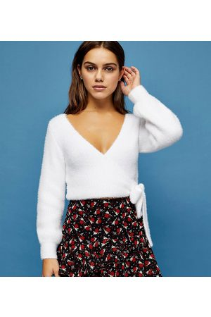 Topshop Fluffy ballet wrap top in ivory