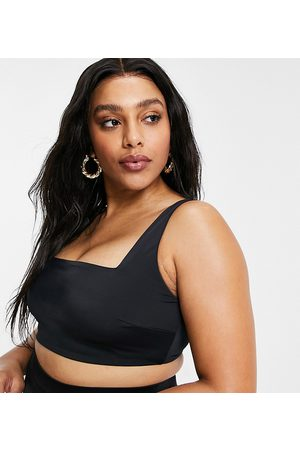 ASOS ASOS DESIGN curve recycled mix and match square neck crop bikini top in