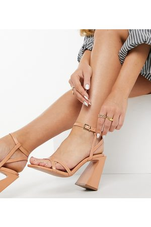 ASOS Wide Fit Watson high heeled sandals in apricot