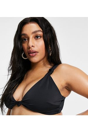 ASOS ASOS DESIGN curve recycled mix and match knot crop bikini top in