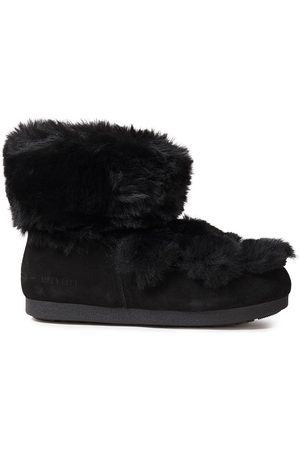 Moon Boot Woman Lace-up Suede And Faux Fur Snow Boots Size 38