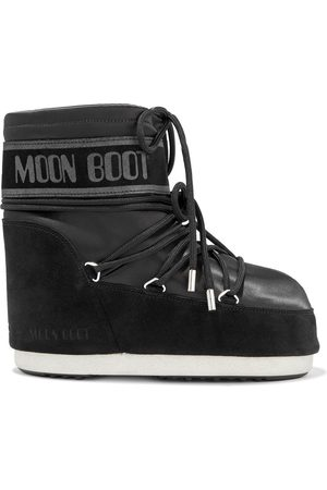Moon Boot Woman Classic Low Lace-up Satin And Suede Snow Boots Size 34-36