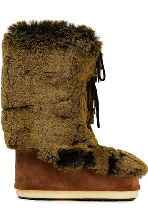 Moon Boot Women Snow Boots - Woman Lace-up Faux Fur And Suede Snow Boots Sage Size 39-41