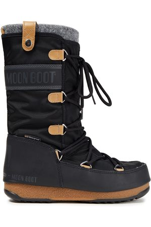 Moon Boot Women Snow Boots - Woman Monaco Lace-up Felt Shell And Faux Leather Snow Boots Size 36