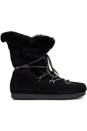 Moon Boot Women Snow Boots - Woman Far Side High Lace-up Shearling-trimmed Suede Snow Boots Size 36