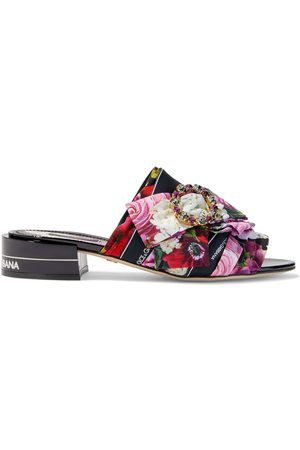 Dolce & Gabbana Woman Embellished Pleated Floral-print Crepe Mules Size 36