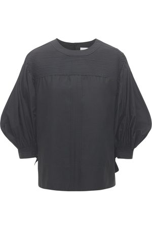 Jil Sander Cotton Cropped Top W/ Puff Sleeves
