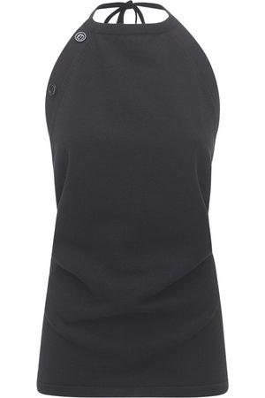 Sportmax Violet Cotton Blend Knit Top W/open Back