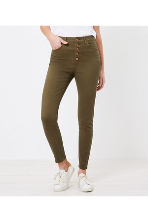 LOFT The High Waist Button Front Skinny Jean in Vintage Olive
