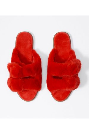 LOFT Faux Fur Buckle Slippers