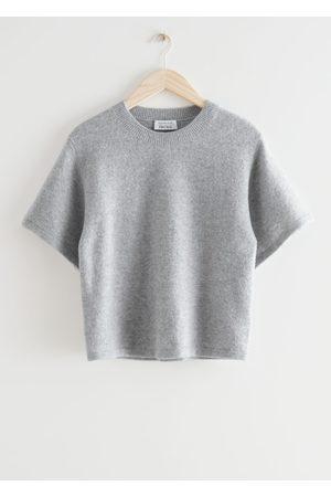 & OTHER STORIES Women T-shirts - Boxy Wool Blend Knit T-Shirt - Grey
