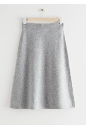 & OTHER STORIES A-Line Wool Blend Midi Knit Skirt - Grey