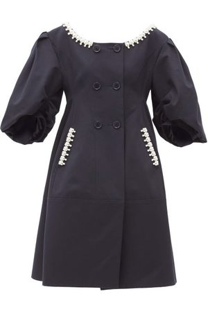 Simone Rocha Women Coats - Pearl-embellished Double-breasted Twill Coat - Womens - Navy