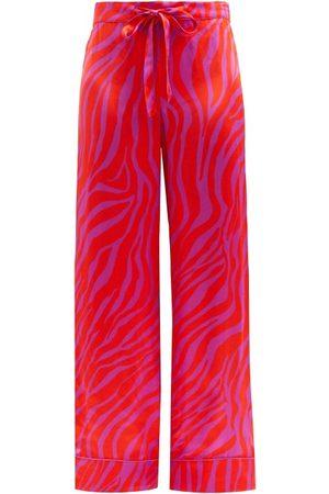 HALPERN Zebra-stripe Satin Trousers - Womens - Print