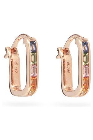Raphaele Canot Women Earrings - Sapphire & 18kt Rose-gold Hoop Earrings - Womens - Multi