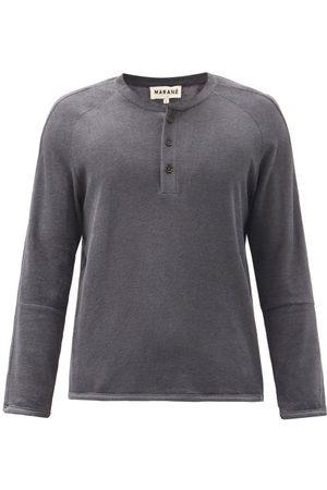 Marané Cotton-terry Henley Top - Mens - Dark Grey