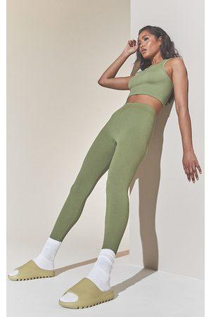 PRETTYLITTLETHING Khaki Structured Contour Ribbed Leggings