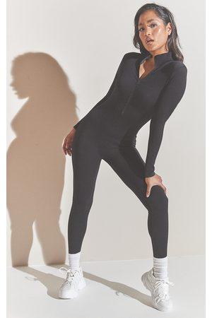PRETTYLITTLETHING Structured Contour Rib Zip Jumpsuit