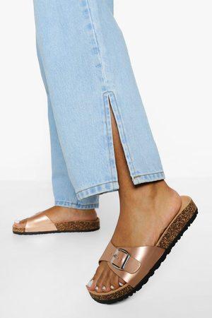 Boohoo Women Sandals - Womens Buckle Footbed Slider - - 5