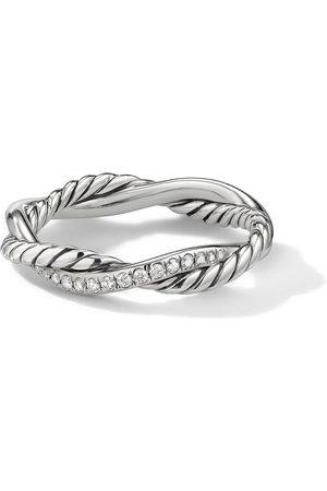 David Yurman Women Rings - 4mm sterling petite Infinity pavé diamonds twisted ring