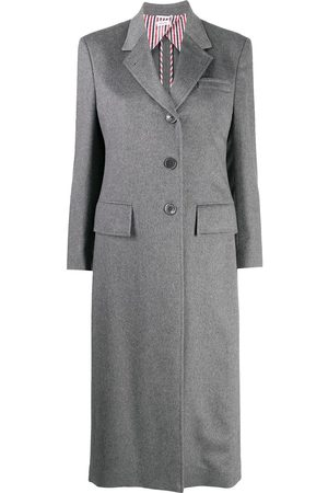 Thom Browne Women Blazers - Wide lapel cashmere overcoat - Grey