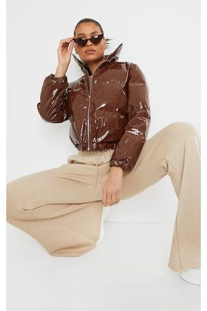 PrettyLittleThing Chocolate Cropped Vinyl Puffer Jacket