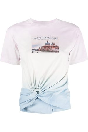 Paco rabanne Women T-shirts - Graphic-print ruched T-shirt