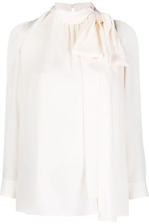 VALENTINO Women Blouses - Pussy-bow silk blouse - Neutrals